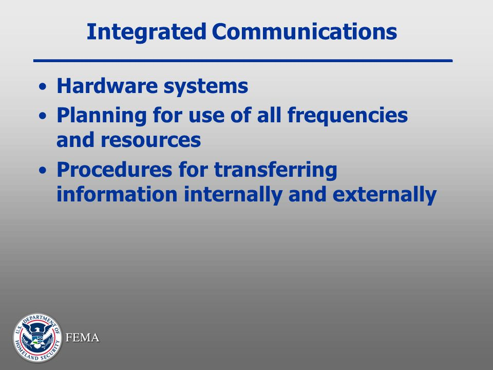 Integrated Communications Hardware systems Planning for use of all frequencies and resources Procedures for transferring information internally and ex