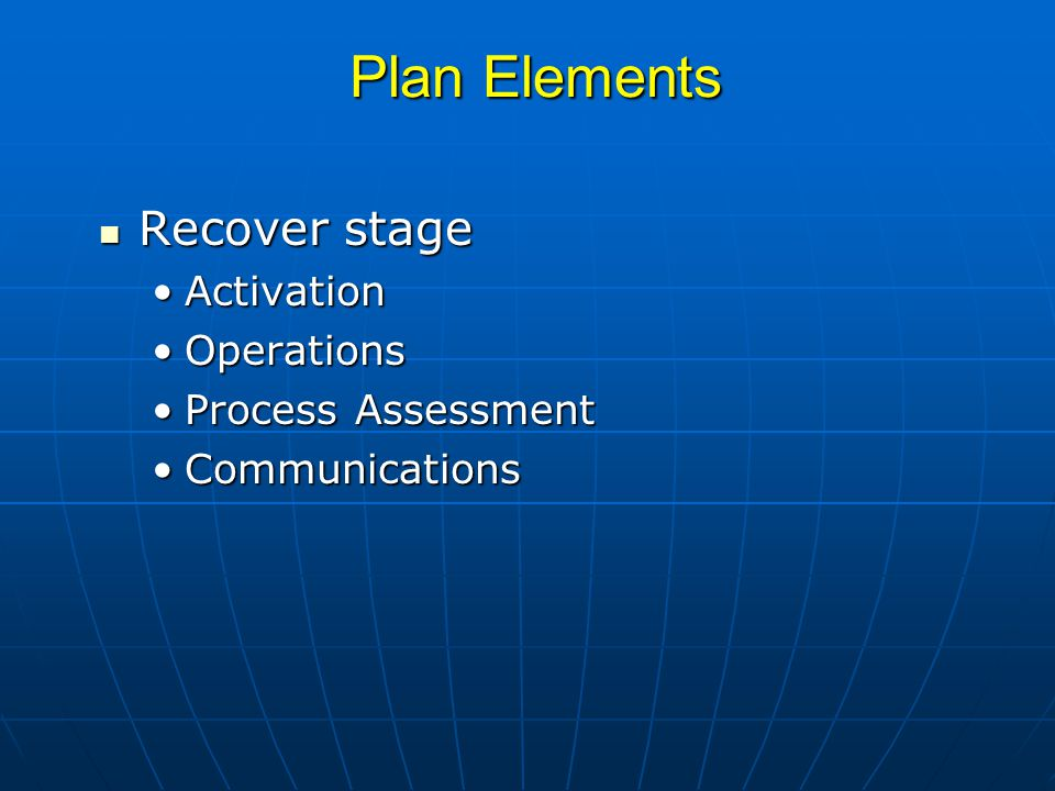 Plan Elements Recover stage Recover stage ActivationActivation OperationsOperations Process AssessmentProcess Assessment CommunicationsCommunications