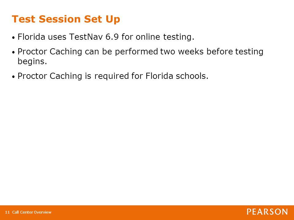 Call Center Overview11 Test Session Set Up Florida uses TestNav 6.9 for online testing.
