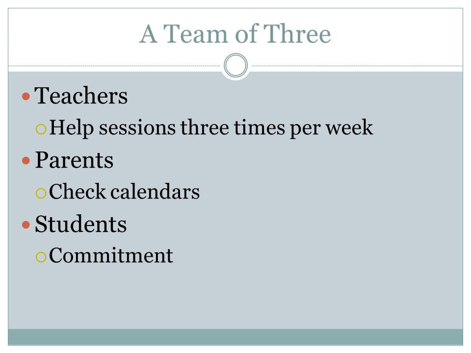 A Team of Three Teachers  Help sessions three times per week Parents  Check calendars Students  Commitment