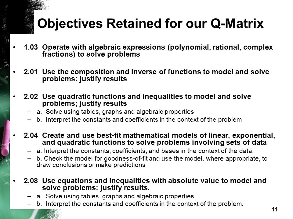 Objectives Retained for our Q-Matrix 1.03Operate with algebraic expressions (polynomial, rational, complex fractions) to solve problems 2.01Use the co