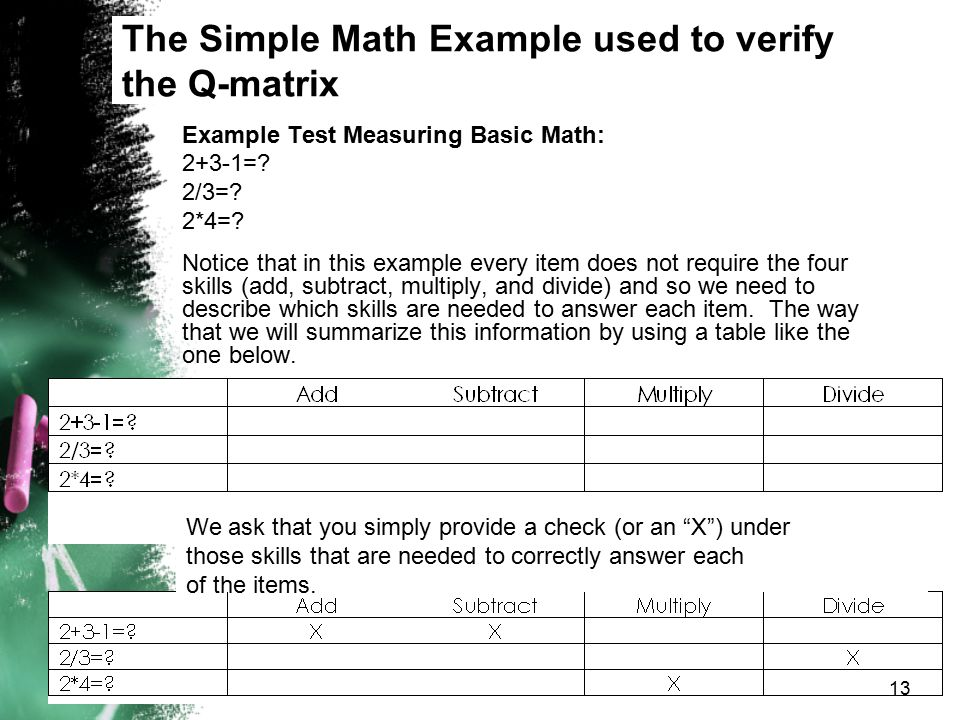 The Simple Math Example used to verify the Q-matrix Example Test Measuring Basic Math: 2+3-1=? 2/3=? 2*4=? Notice that in this example every item does
