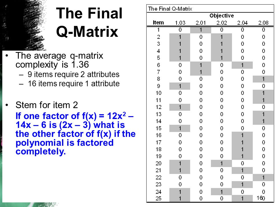The Final Q-Matrix The average q-matrix complexity is 1.36 –9 items require 2 attributes –16 items require 1 attribute Stem for item 2 If one factor o