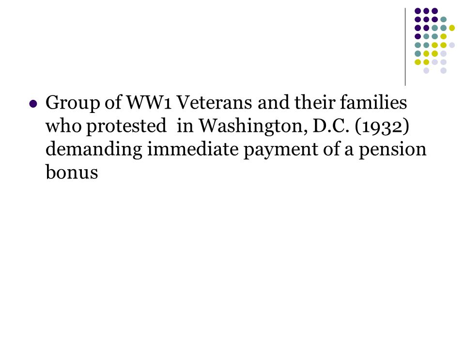 Group of WW1 Veterans and their families who protested in Washington, D.C. (1932) demanding immediate payment of a pension bonus
