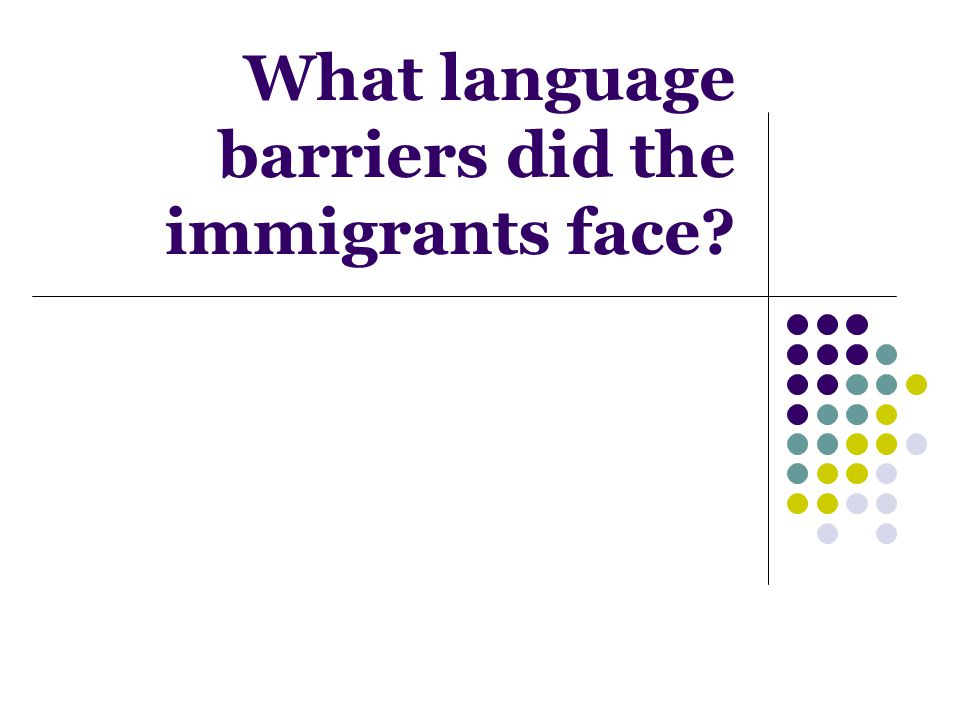 What language barriers did the immigrants face?