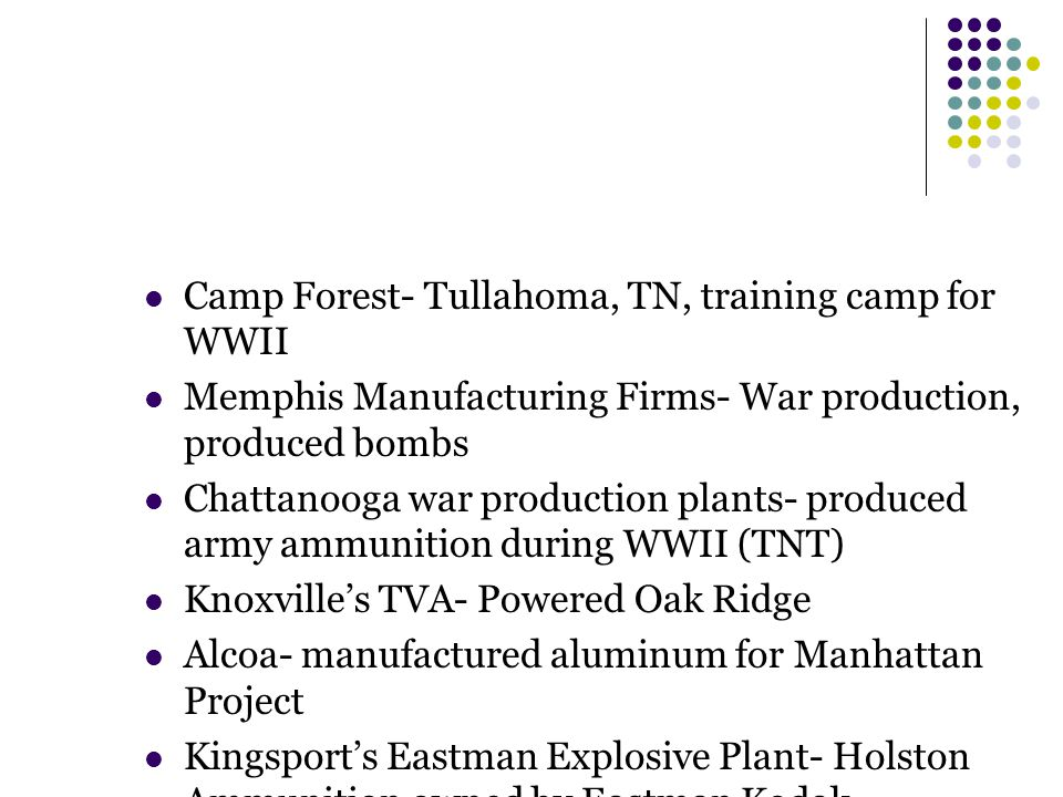 Camp Forest- Tullahoma, TN, training camp for WWII Memphis Manufacturing Firms- War production, produced bombs Chattanooga war production plants- prod