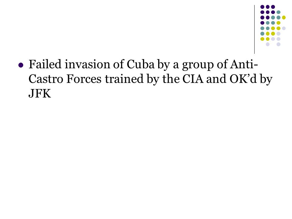 Failed invasion of Cuba by a group of Anti- Castro Forces trained by the CIA and OK'd by JFK