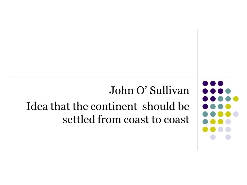 John O' Sullivan Idea that the continent should be settled from coast to coast