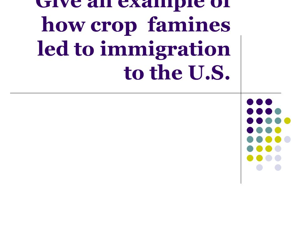 Give an example of how crop famines led to immigration to the U.S.