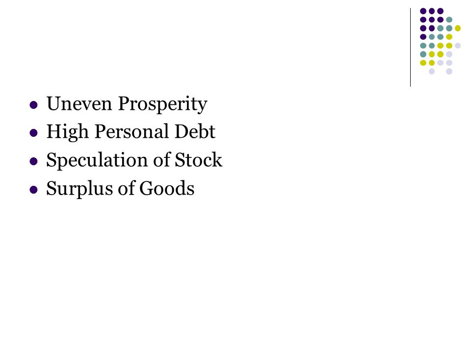 Uneven Prosperity High Personal Debt Speculation of Stock Surplus of Goods