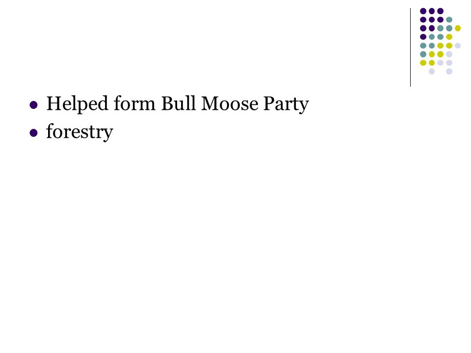 Helped form Bull Moose Party forestry