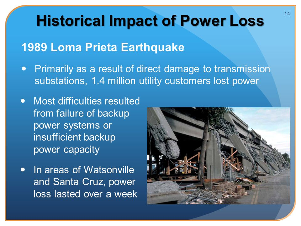 Historical Impact of Power Loss 1989 Loma Prieta Earthquake Primarily as a result of direct damage to transmission substations, 1.4 million utility customers lost power 14 Most difficulties resulted from failure of backup power systems or insufficient backup power capacity In areas of Watsonville and Santa Cruz, power loss lasted over a week Source: www.drj.com/drworld/content/w!- 113.htm