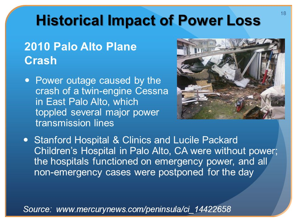 2010 Palo Alto Plane Crash Power outage caused by the crash of a twin-engine Cessna in East Palo Alto, which toppled several major power transmission lines 18 Historical Impact of Power Loss Stanford Hospital & Clinics and Lucile Packard Children's Hospital in Palo Alto, CA were without power; the hospitals functioned on emergency power, and all non-emergency cases were postponed for the day Source: www.mercurynews.com/peninsula/ci_14422658