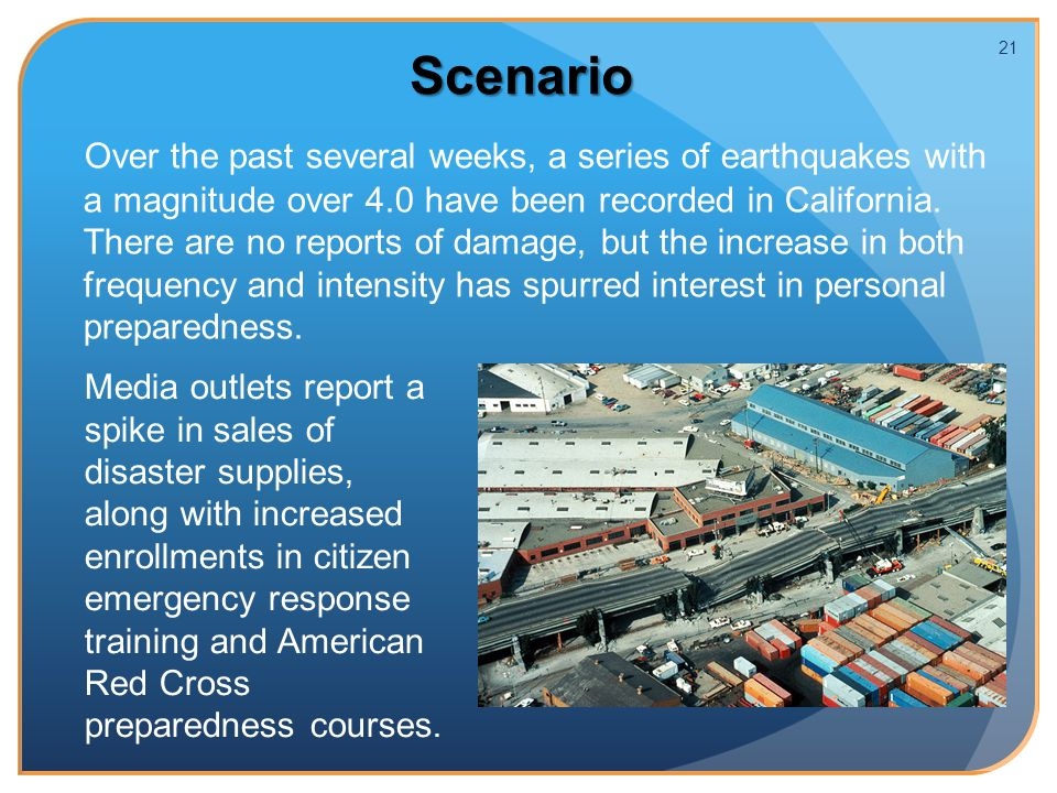 Scenario Over the past several weeks, a series of earthquakes with a magnitude over 4.0 have been recorded in California.