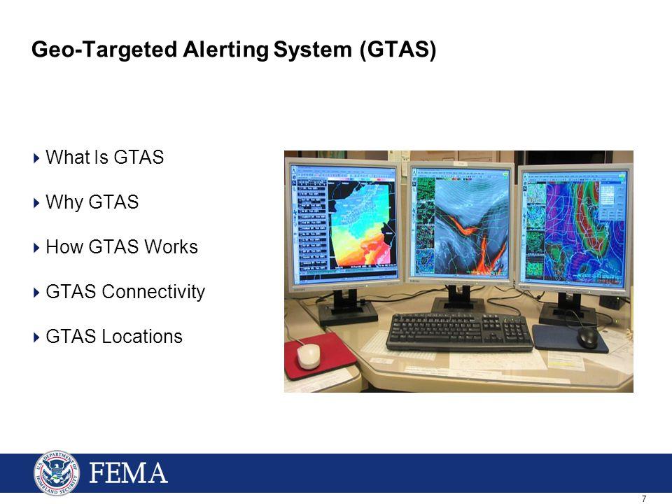 7 Geo-Targeted Alerting System (GTAS)  What Is GTAS  Why GTAS  How GTAS Works  GTAS Connectivity  GTAS Locations