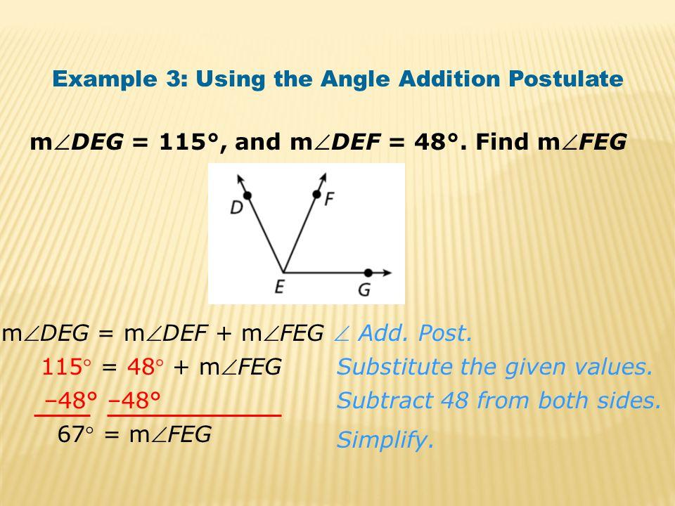 mDEG = 115°, and mDEF = 48°.