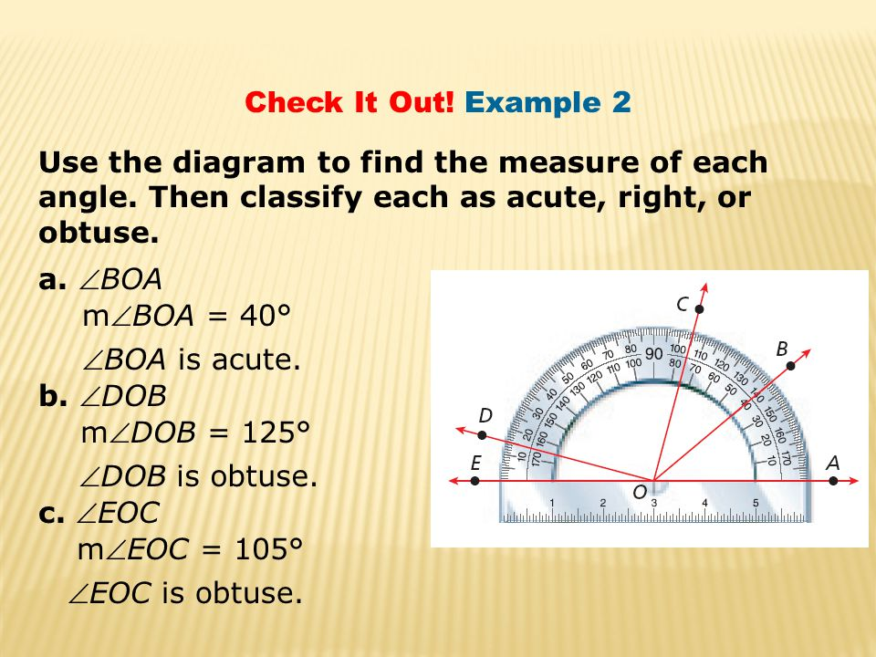 Check It Out.Example 2 a. complement of  E Find the measure of each of the following.