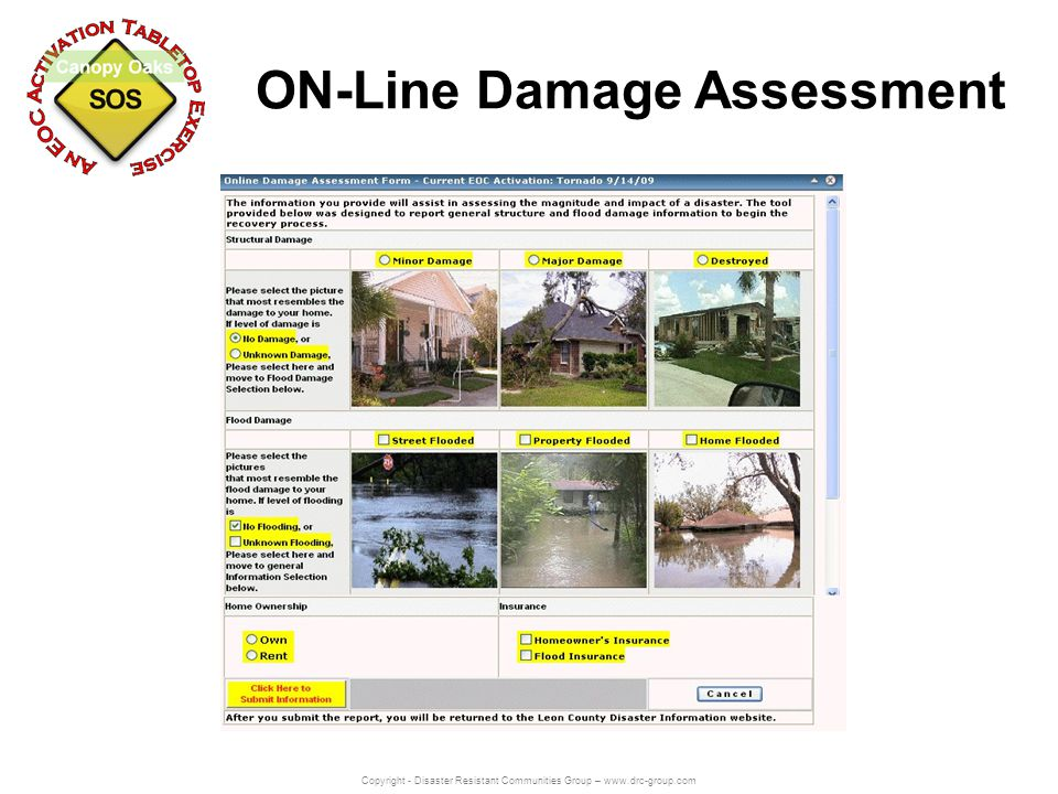 Copyright - Disaster Resistant Communities Group – www.drc-group.com ON-Line Damage Assessment