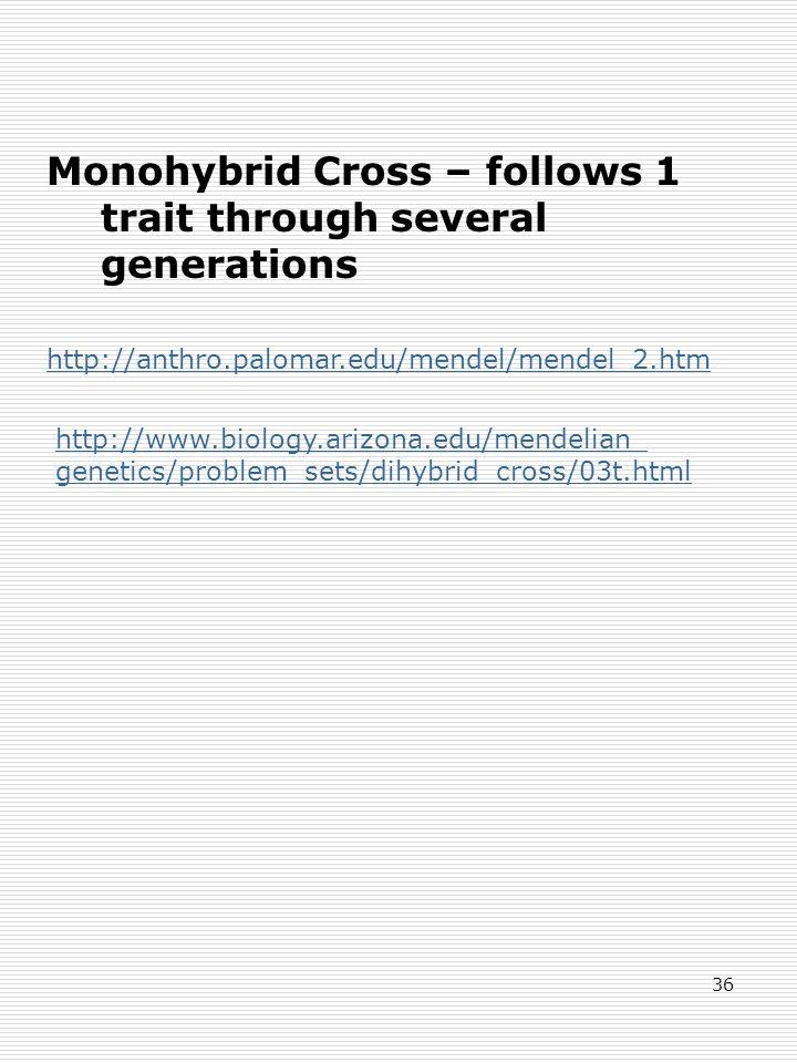 36 Monohybrid Cross – follows 1 trait through several generations http://anthro.palomar.edu/mendel/mendel_2.htm http://www.biology.arizona.edu/mendelian_ genetics/problem_sets/dihybrid_cross/03t.html