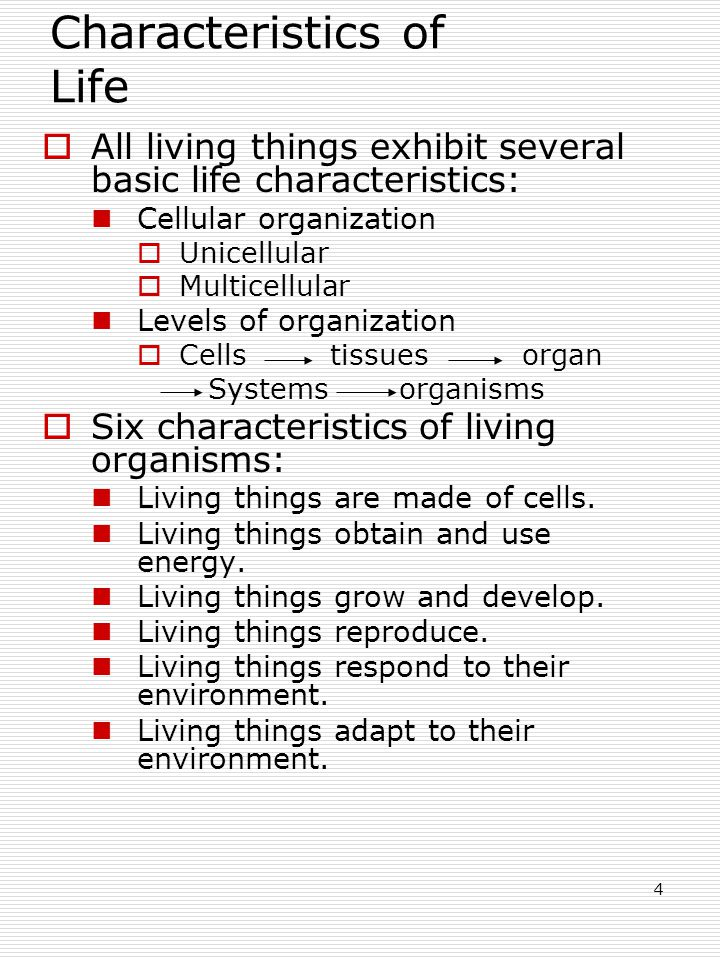 4 Characteristics of Life  All living things exhibit several basic life characteristics: Cellular organization  Unicellular  Multicellular Levels of organization  Cells tissuesorgan Systems organisms  Six characteristics of living organisms: Living things are made of cells.