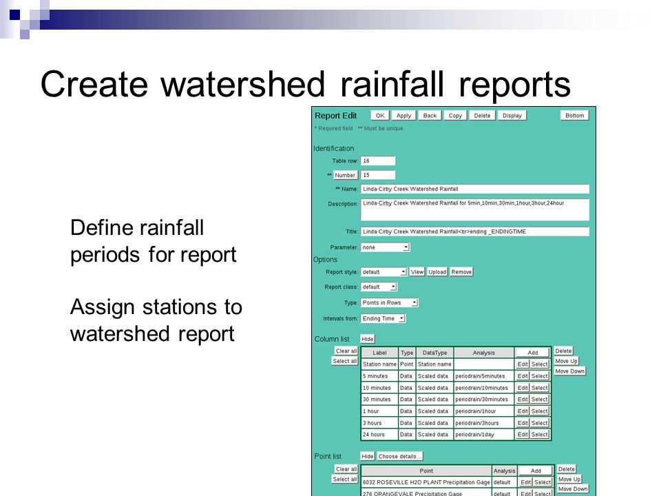 Create watershed rainfall reports Define rainfall periods for report Assign stations to watershed report