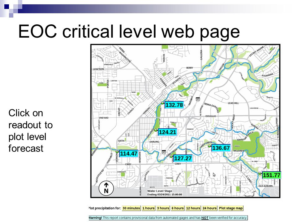 EOC critical level web page Click on readout to plot level forecast