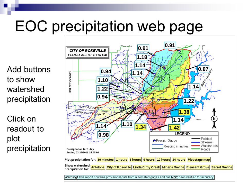 EOC precipitation web page Add buttons to show watershed precipitation Click on readout to plot precipitation