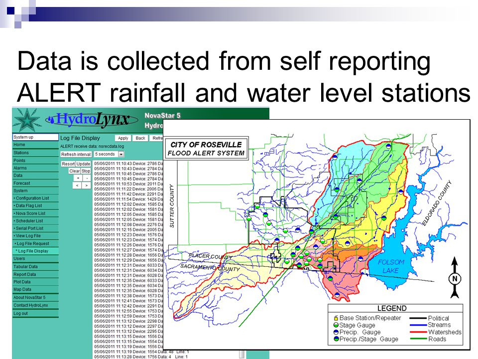 Data is collected from self reporting ALERT rainfall and water level stations