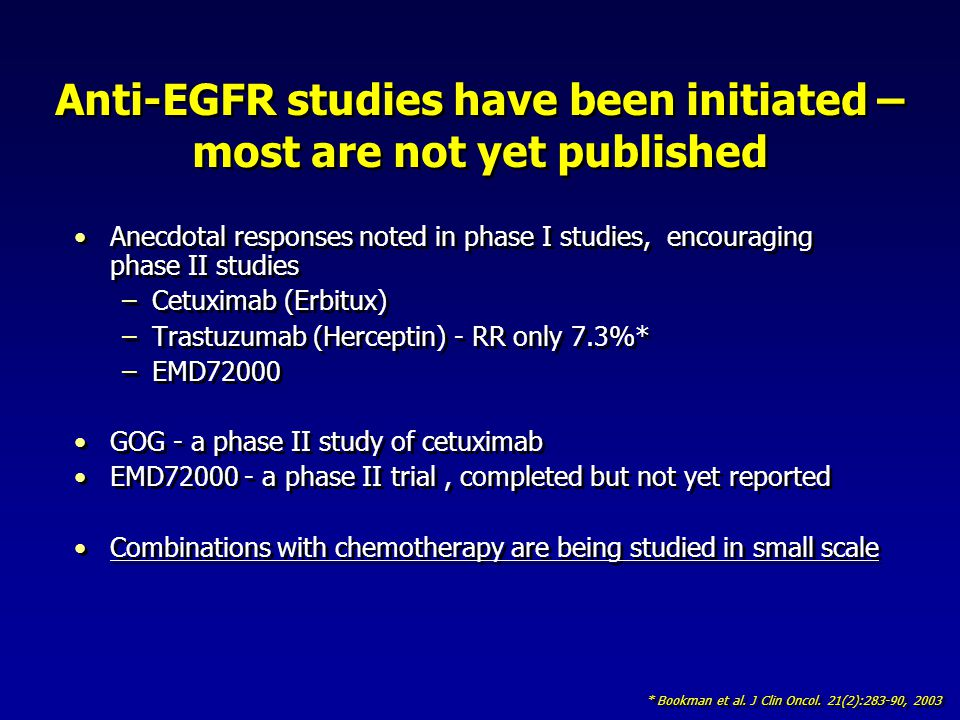 Anti-EGFR studies have been initiated – most are not yet published Anecdotal responses noted in phase I studies, encouraging phase II studies –Cetuxim