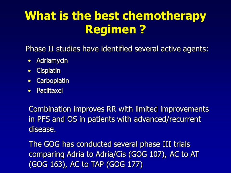 What is the best chemotherapy Regimen ? Adriamycin Cisplatin Carboplatin Paclitaxel Adriamycin Cisplatin Carboplatin Paclitaxel Combination improves R