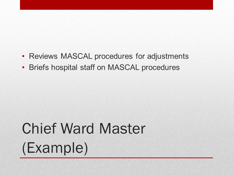 Chief Ward Master (Example) Reviews MASCAL procedures for adjustments Briefs hospital staff on MASCAL procedures