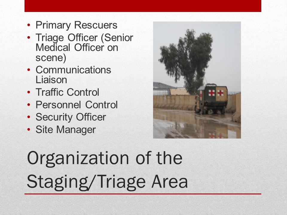 Organization of the Staging/Triage Area Primary Rescuers Triage Officer (Senior Medical Officer on scene) Communications Liaison Traffic Control Perso