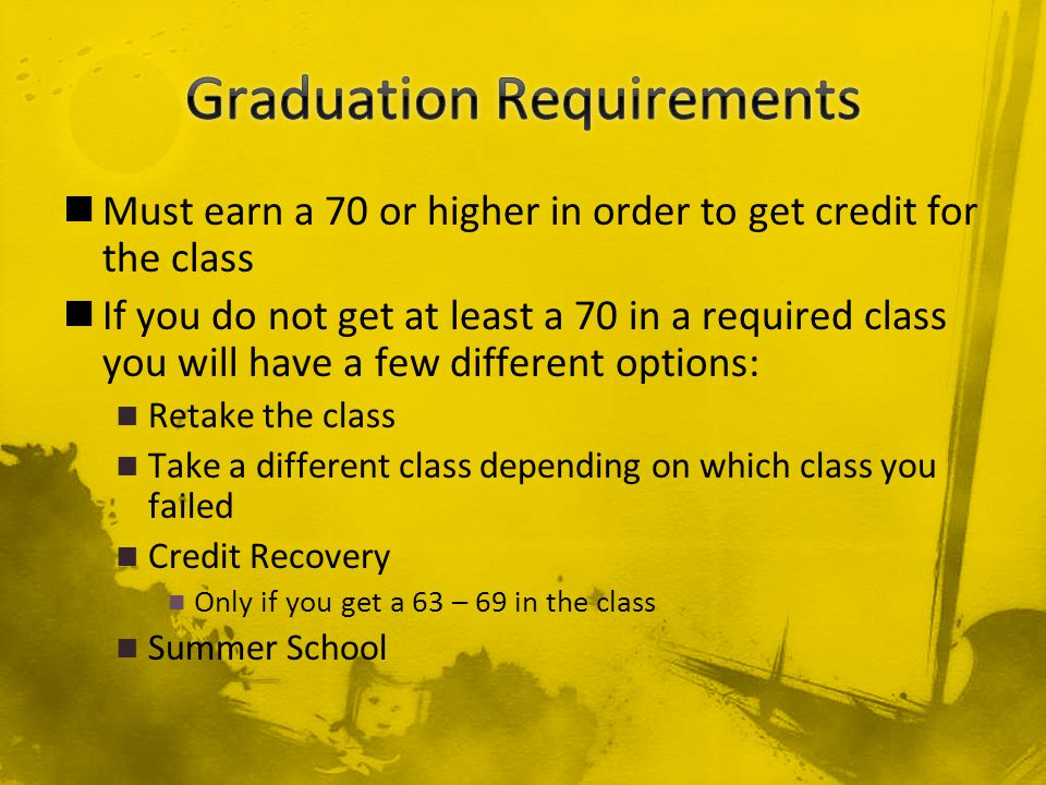Must earn a 70 or higher in order to get credit for the class If you do not get at least a 70 in a required class you will have a few different options: Retake the class Take a different class depending on which class you failed Credit Recovery Only if you get a 63 – 69 in the class Summer School