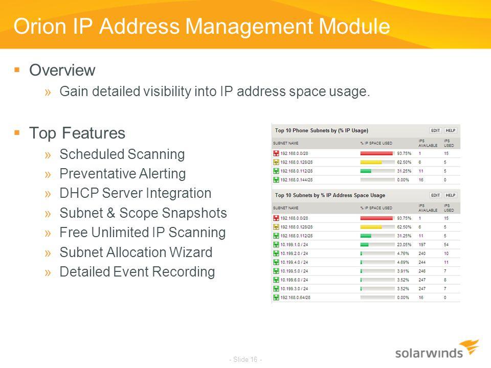 - Slide 16 - Orion IP Address Management Module  Overview »Gain detailed visibility into IP address space usage.  Top Features »Scheduled Scanning »