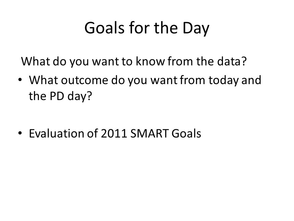 Goals for the Day What do you want to know from the data.