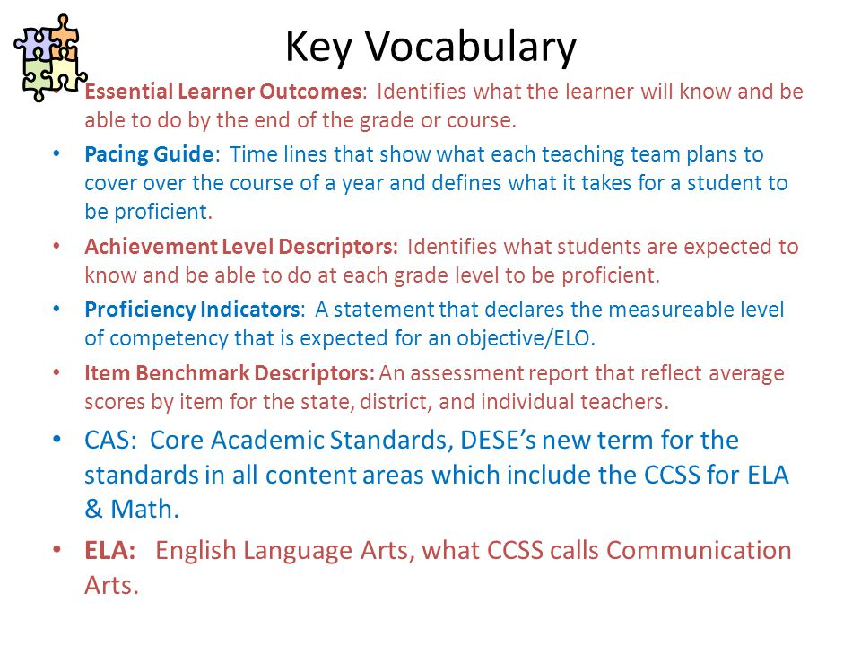 Key Vocabulary Essential Learner Outcomes: Identifies what the learner will know and be able to do by the end of the grade or course.