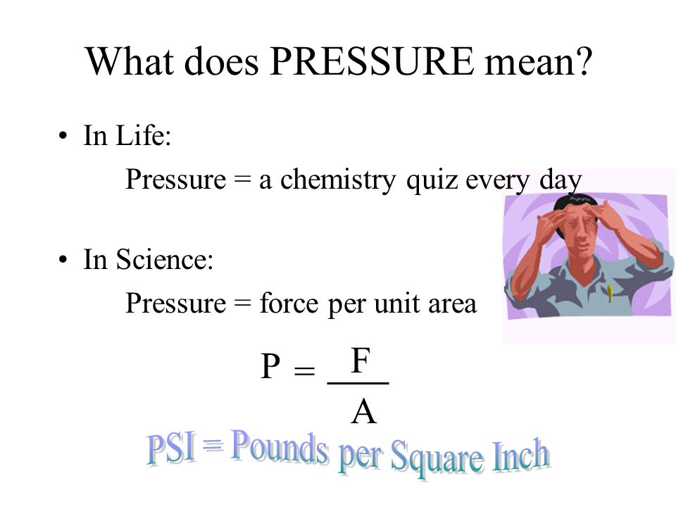 What does PRESSURE mean.