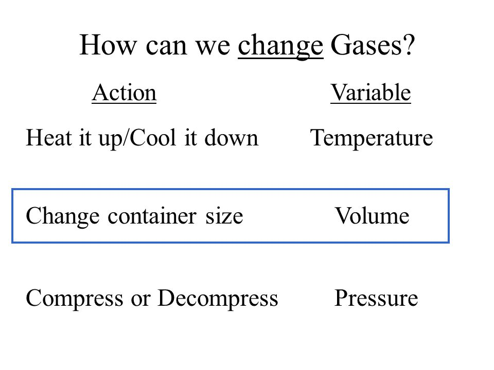 How can we change Gases.