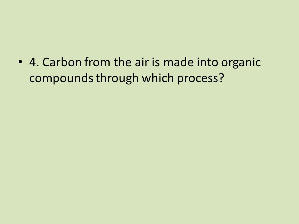 4. Carbon from the air is made into organic compounds through which process?