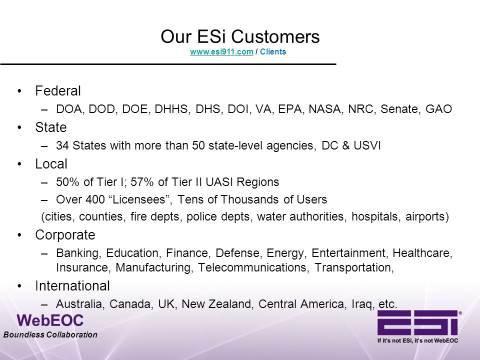 WebEOC Boundless Collaboration Our ESi Customers Federal –DOA, DOD, DOE, DHHS, DHS, DOI, VA, EPA, NASA, NRC, Senate, GAO State –34 States with more th