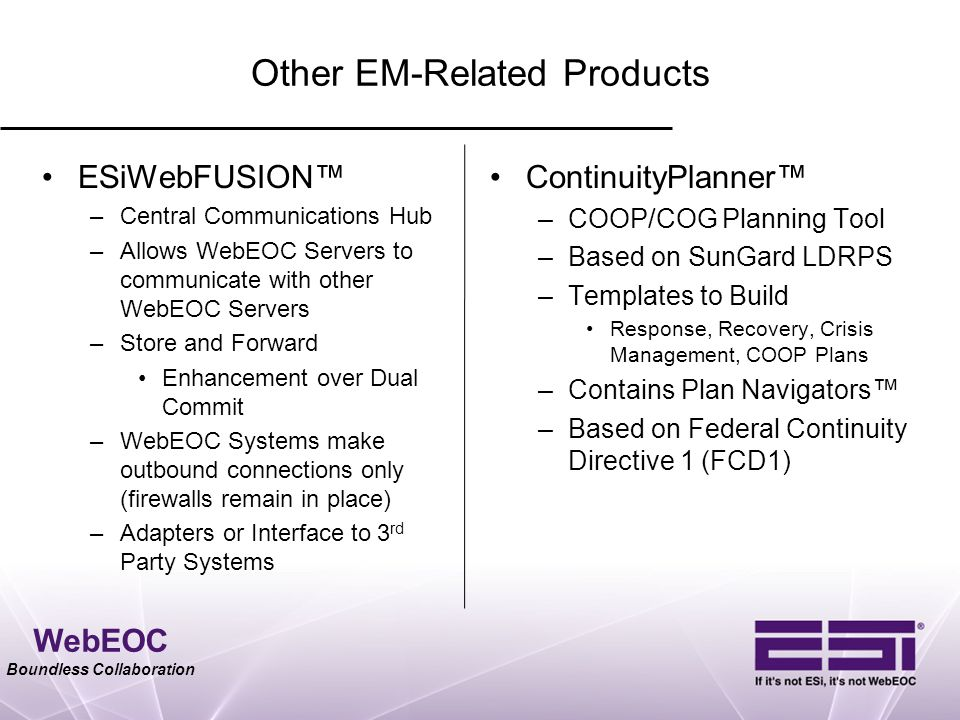 WebEOC Boundless Collaboration Other EM-Related Products ESiWebFUSION™ –Central Communications Hub –Allows WebEOC Servers to communicate with other We