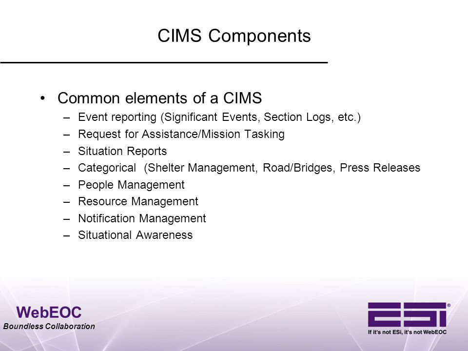 WebEOC Boundless Collaboration CIMS Components Common elements of a CIMS –Event reporting (Significant Events, Section Logs, etc.) –Request for Assist