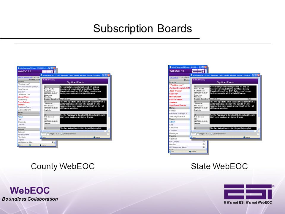 WebEOC Boundless Collaboration Subscription Boards County WebEOCState WebEOC