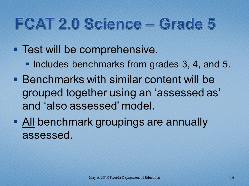 Test will be comprehensive.  Includes benchmarks from grades 3, 4, and 5.
