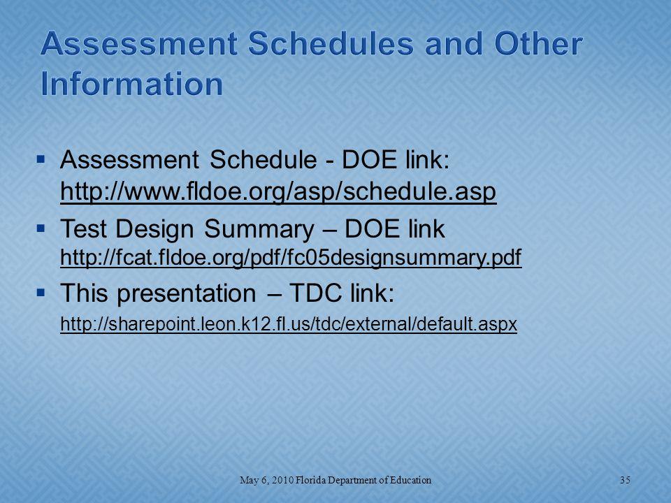  Assessment Schedule - DOE link: http://www.fldoe.org/asp/schedule.asp  Test Design Summary – DOE link http://fcat.fldoe.org/pdf/fc05designsummary.p