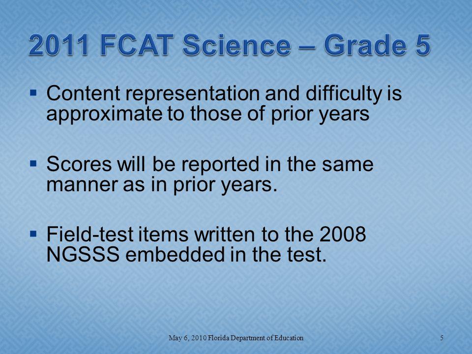 Grade 8 2011 6May 6, 2010 Florida Department of Education