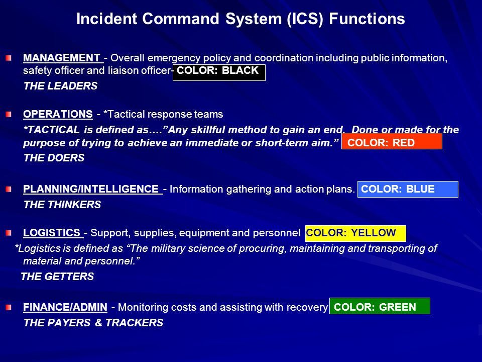 Incident Command System (ICS) Functions MANAGEMENT - Overall emergency policy and coordination including public information, safety officer and liaiso