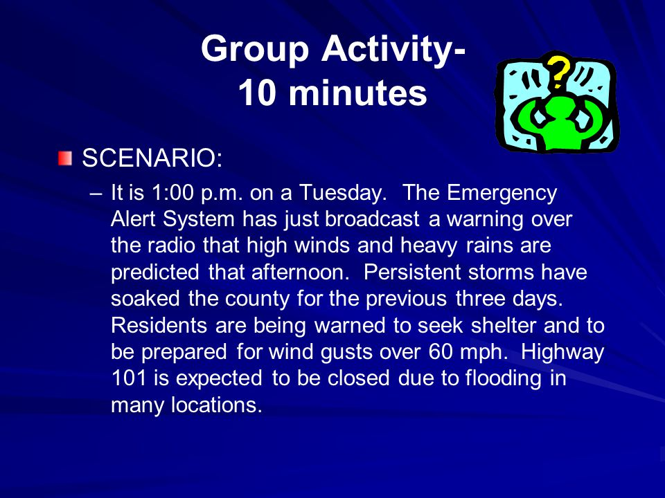 Group Activity- 10 minutes SCENARIO: – –It is 1:00 p.m.