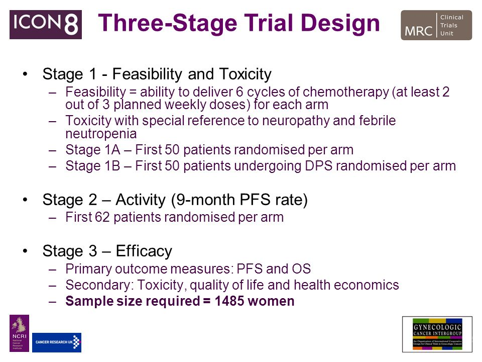 Stage 1 - Feasibility and Toxicity –Feasibility = ability to deliver 6 cycles of chemotherapy (at least 2 out of 3 planned weekly doses) for each arm