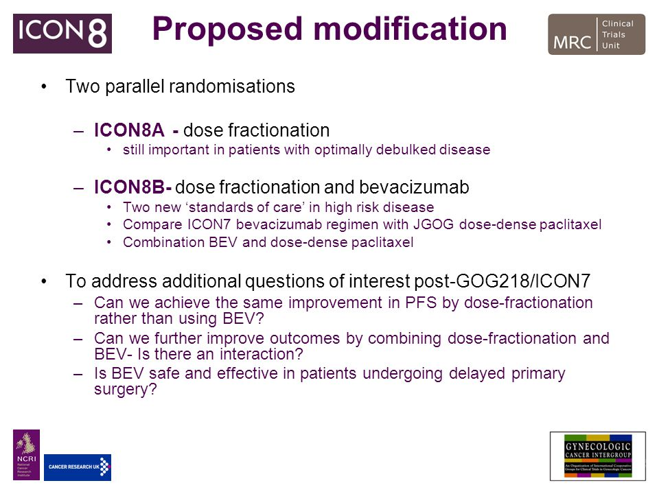 Proposed modification Two parallel randomisations –ICON8A- dose fractionation still important in patients with optimally debulked disease –ICON8B- dos